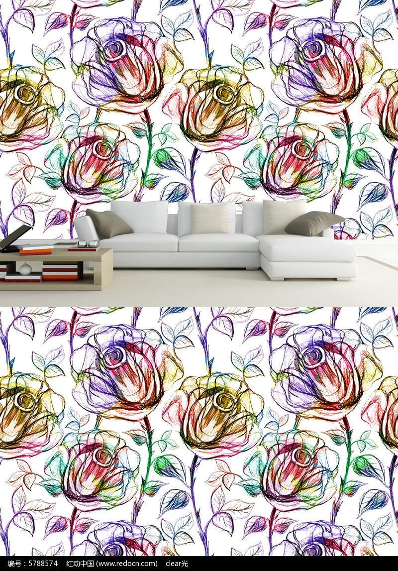 手绘彩色玫瑰抽象电视背景墙