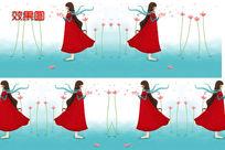 卡通红衣女孩超级高清背景视频
