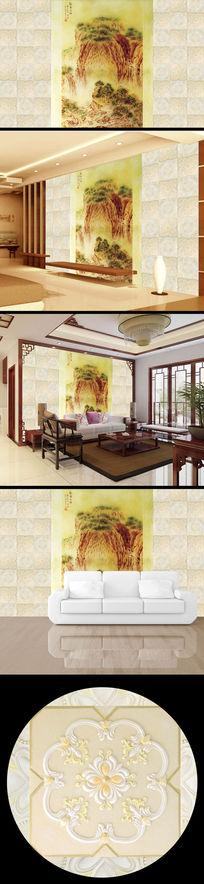 山水画中国画花纹浮雕电视背景墙