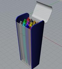 现代简约风格线条曲线造型学习用品彩色绘画笔彩盒3d素材
