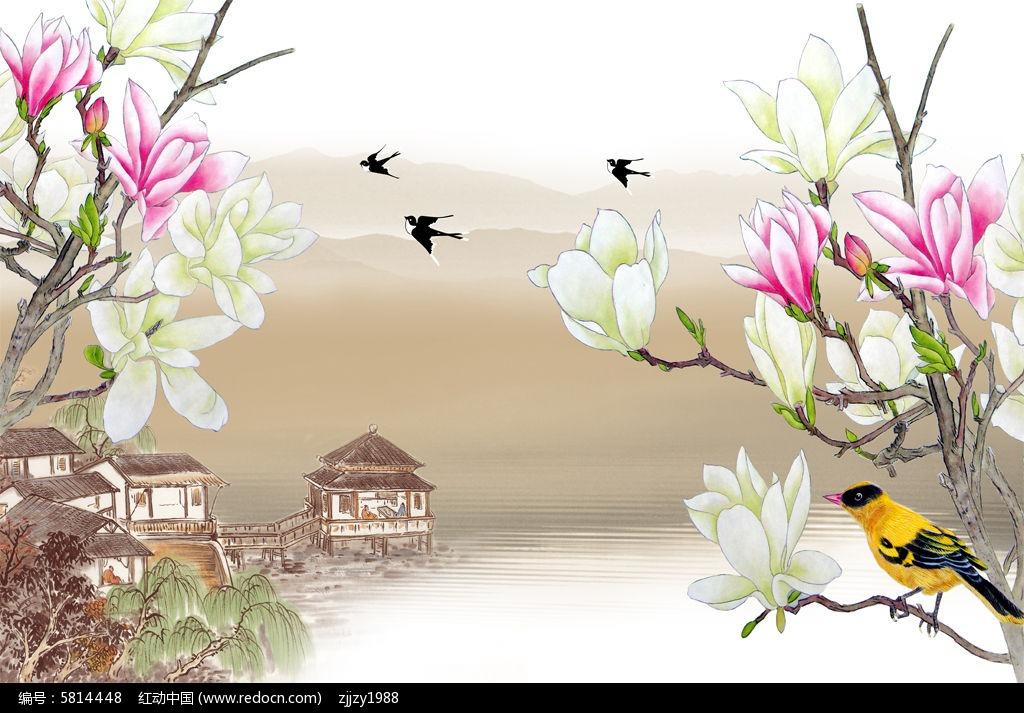 3d中式山水复古玉兰花电视背景墙