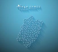 扁平化3D立体企业文化墙福建地图