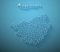 扁平化3D立体企业文化墙广西地图