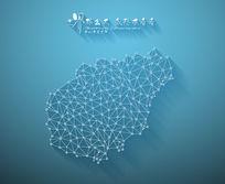 扁平化3D立体企业文化墙海南地图