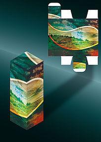 波浪形优美茶叶包装盒模板