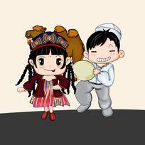 可爱卡通手绘新疆Q版人物