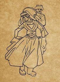 手绘线条新疆风情人物