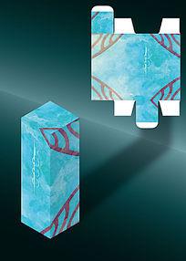 天蓝色对称古典包装盒模板