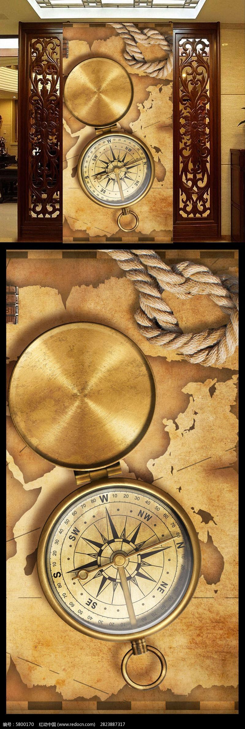 钟表地图欧式复古玄关背景墙图片