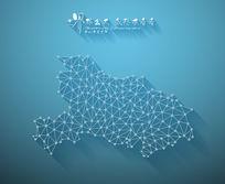 扁平化3D立体企业文化墙湖北地图展板