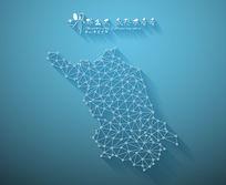 扁平化3D立体企业文化墙江苏地图展板