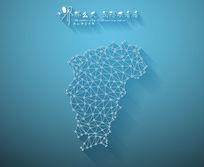 扁平化3D立体企业文化墙江西地图展板