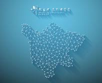 扁平化3D立体企业文化墙四川地图展板