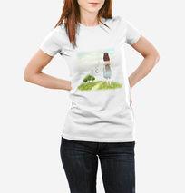 清新可爱女孩T恤衬衫图案