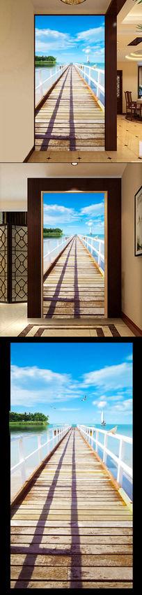 海鸥地中海小桥小岛海边3D玄关过道背景墙
