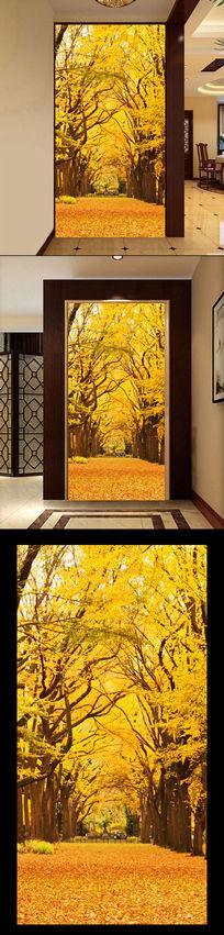 黄金满地秋天3D玄关过道背景墙 TIF