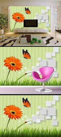 简约非洲菊蝴蝶方块电视背景墙装饰画