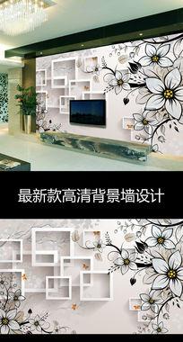 梦幻抽象花朵3D方框时尚电视背景墙