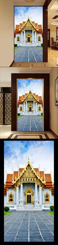 欧式宫廷城堡3D立体风光玄关过道背景墙