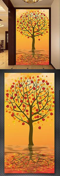 秋天落叶树发财树玄关装饰画过道走道