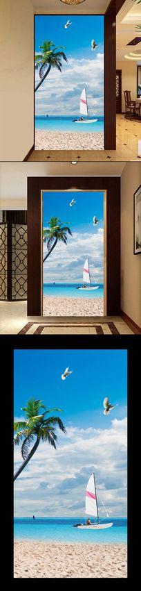 时尚海边风光3D立体玄关过道背景墙
