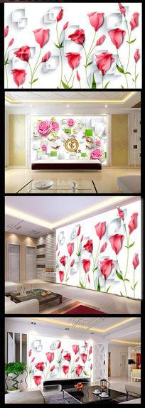 时尚浪漫电视背景装饰墙浪漫花开图片下载