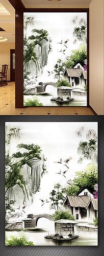 玄关山水流水生财财源滚滚玄关背景墙装饰画