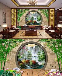 中式竹林山水风景装饰电视背景墙