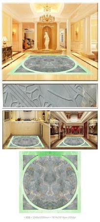 古典梅花牡丹大理石花纹3D拼花地板
