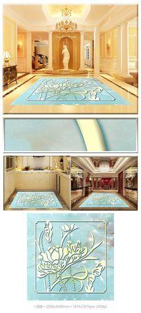 荷韵古典花纹大理石3D拼花地板