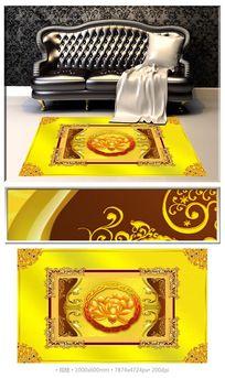 黄金荷韵古典3D拼花地板地毯