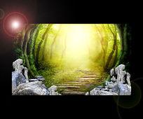 森林舞台背景板