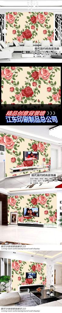 大红色矢量鲜花背景墙