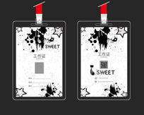 黑白喷墨中国风工作证设计