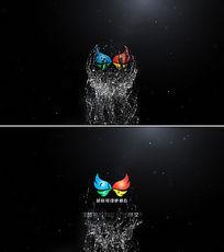 球形液体流水logo标志动画ae片头模板
