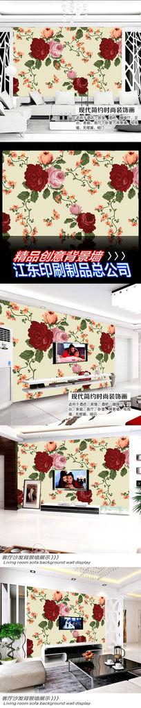 中国红色鲜花背景墙