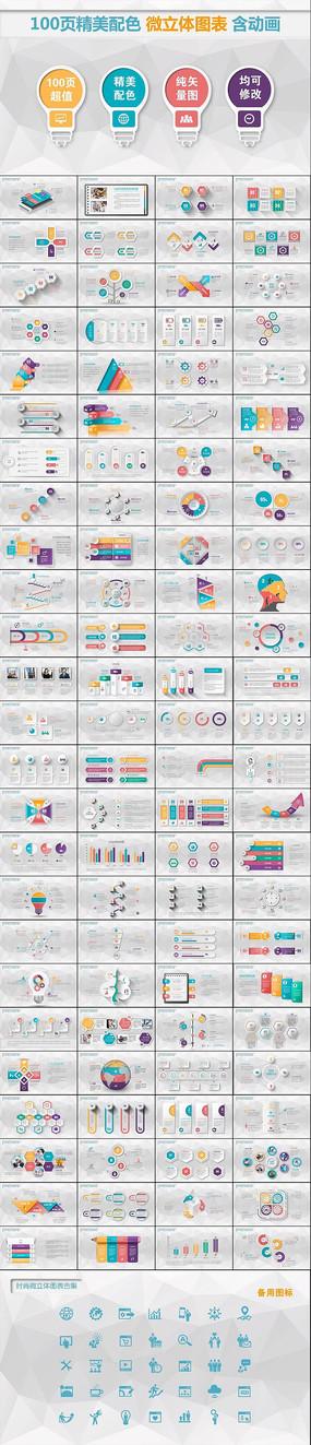 100页精美配色微立体图标含动画图表 pptx