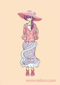 粉色礼服少女手绘插画