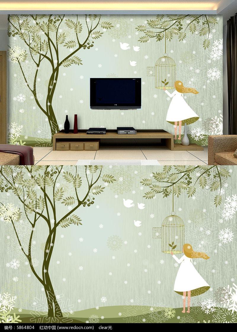林中女孩手绘树林电视背景墙