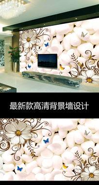梦幻抽象花朵时尚电视背景墙