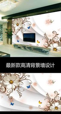 欧式复古花卉时尚现代电视背景墙