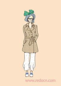时尚气质风衣女孩插画
