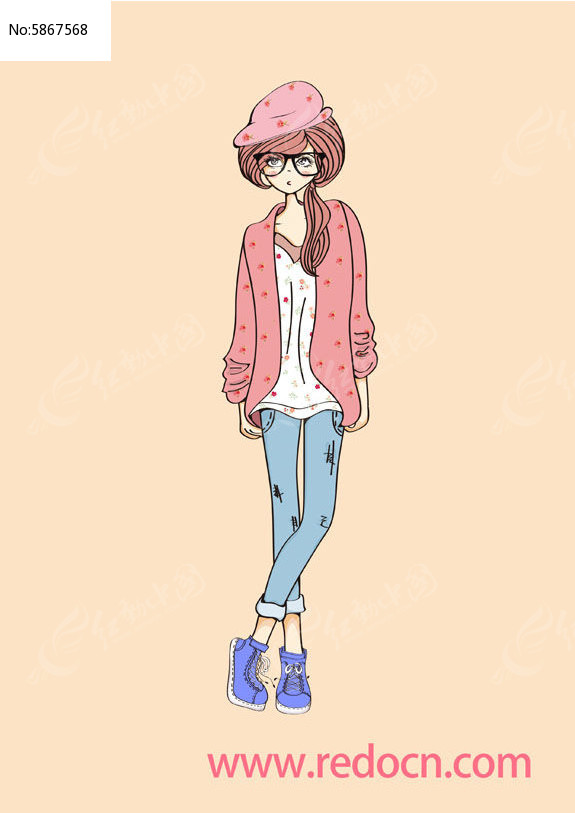 时尚休闲装少女手绘插画