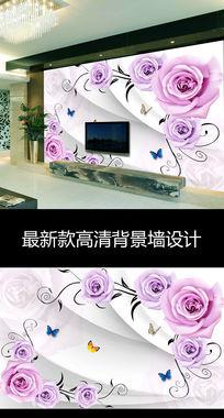 现代简约玫瑰花朵时尚电视背景墙