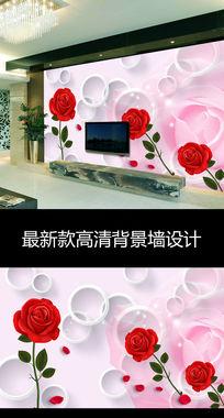 现代时尚玫瑰花朵3D圆圈电视背景墙