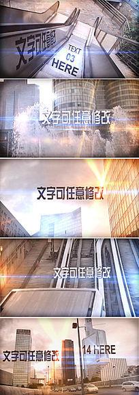 城市镜头跟踪文字特效展示ae模板
