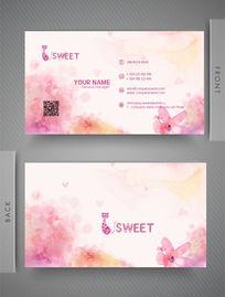 粉色花朵彩墨名片