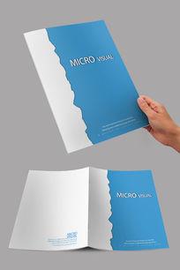 蓝色撕纸创意封面