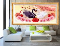 天鹅之吻爱相随室内装饰画