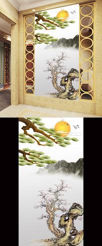 中国风松树国画水墨画太阳玄关